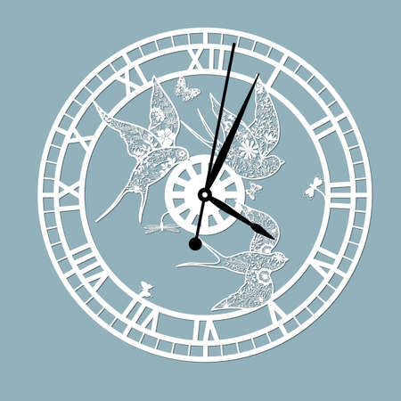 Simple clock face with roman numerals and swallows. Vector template for laser cut. Silhouette of dial isolated on gray background. Floral theme of illustration .. Illusztráció