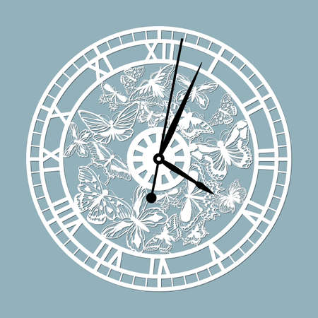 Simple clock face with roman numerals and butterflies. Vector template for laser cut. Silhouette of dial isolated on gray background. Floral theme of illustration ..