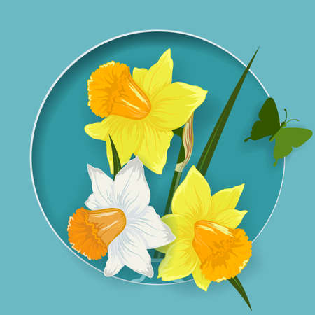 Origami, flowers with butterflies. Daffodils in a jug. Postcard for the holiday. Design for the holidays .... Illusztráció