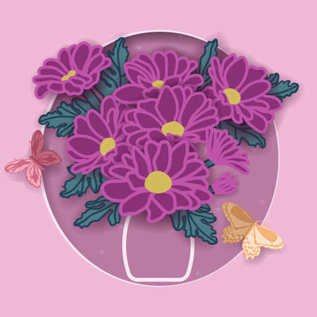 Origami, flowers with butterflies. Chrysanthemums in a jug. Postcard for the holiday. Design for the holidays ....