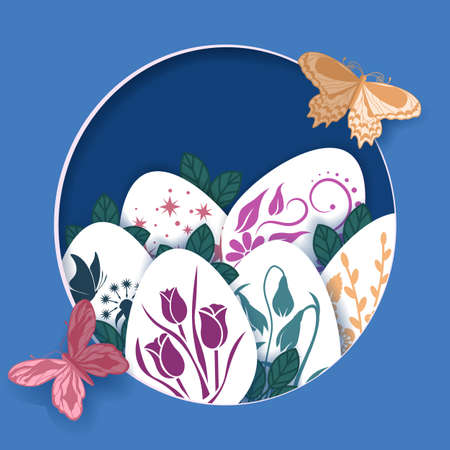 Happy Easter greeting card. Laser cut. Vector layered paper cut style Easter egg, leaves, flowers and butterflies. Scrapbooking. ....