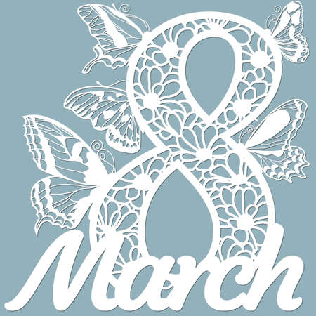 Decoration for women's day - 8 March. Template for laser cutting, wood carving, paper cut and printing. Butterfly wings. Flowers Vector illustration. Scrapbooking ...