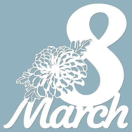 Decoration for women's day - 8 March. Template for laser cutting, wood carving, paper cut and printing. Flowers Vector illustration. Scrapbooking ...