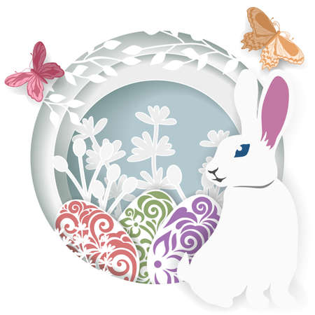 Happy Easter greeting card. Laser cut. Vector layered paper cut style Easter egg with rabbit, leaves, flowers and butterfly. Scrapbooking ...