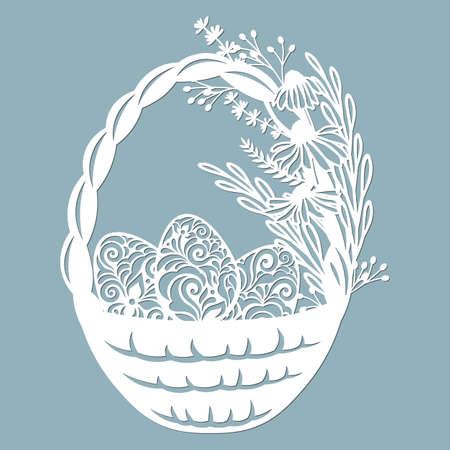 Easter basket with egg grass, leaves, flowers. Vector illustration. Easter eggs for Easter holidays. Paper sticker. Laser cut. Vector illustration. Pattern for the laser cut, potter and screen printing...