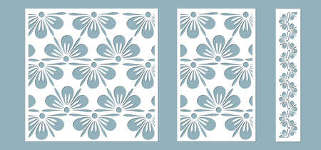 Set panel flowers leaves for registration of the decorative surfaces. Abstract strips, flowers, panels. Vector illustration of a laser cutting. Plotter cutting and screen printing ..