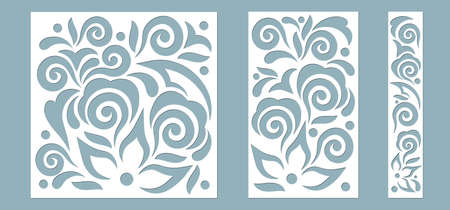 Set panel abstract leaves for registration of the decorative surfaces. Abstract strips, flowers, panels. Vector illustration of a laser cutting. Plotter cutting and screen printing ..