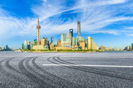 Shanghai urban architectural landscape and asphalt road