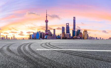 Shanghai morning city landscape and asphalt road