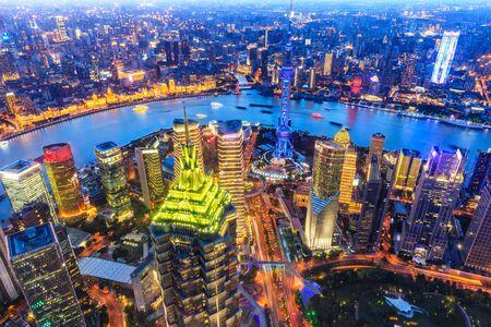 Vista aérea del paisaje urbano de Shanghai Foto de archivo