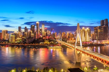 Chongqing architectural scenery and rivers and sky at night Imagens