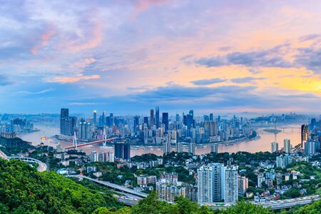 Sunset cityscape and skyline in Chongqing Imagens