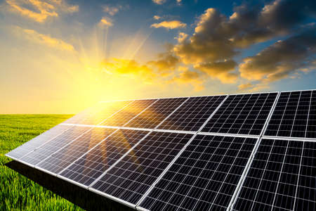 Solar power panels and natural landscape in sunny summer, Asia