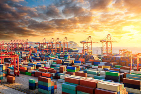 The busy container port and natural scenery in Shanghai, China Stock Photo