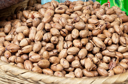 hickory nuts: Open-air market selling pecans