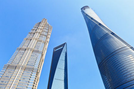 Shanghai skyscrapers in the blue sky