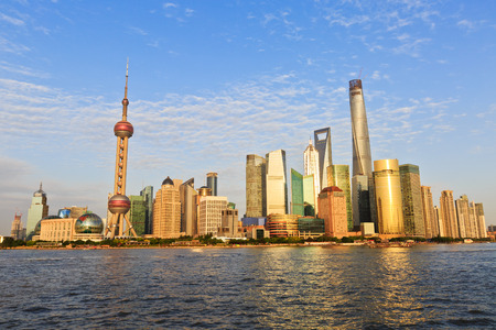 prosperous: beautiful cityscape of Shanghai under the blue sky