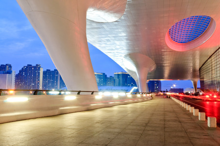 Hangzhou east railway station building at night Editorial
