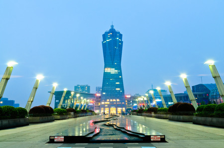 Hangzhou west lake culture square landmarks in the evening Editorial