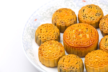 enveloping: Chinese traditional food--Moon cake Stock Photo