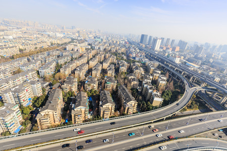 viaducts: Hangzhou urban residential areas in China
