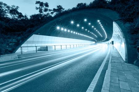 都市高速道路道路トンネル出口 写真素材