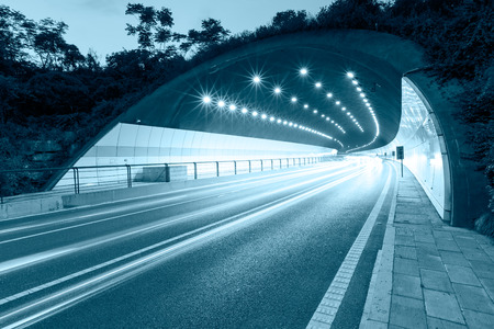 highway night: urban highway road tunnel outlet
