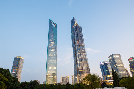 jin mao tower: Shanghai, China - July 30 , 2015: Shanghai skyscraper Scenery Shanghai Tower, world Financial Center and Jin Mao Tower in Shanghai, These are the tallest buildings in Shanghai.