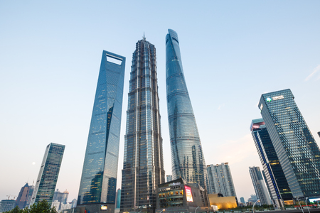 jin mao tower: Shanghai, China - July 30 , 2015: Shanghai skyscraper Scenery,Shanghai Tower, world Financial Center and Jin Mao Tower in Shanghai, These are the tallest buildings in Shanghai. Editorial