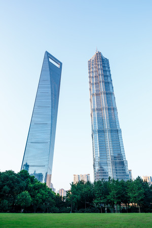 jin mao tower: Shanghai, China - July 28, 2015: skyscrapers beautiful scenery, World Financial Center and Jin Mao Tower in Shanghai, These are the tallest buildings in Shanghai.