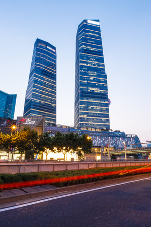 influential: Shanghai, China - on July 28, 2015: Shanghai lujiazui financial district commercial buildings at night, lujiazui is one of the most influential financial center in China.