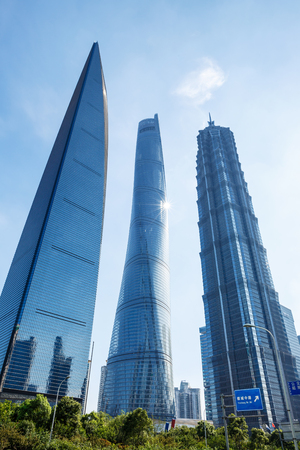 jin mao tower: Shanghai, China - July 28, 2015: skyscrapers beautiful scenery, World Financial Center and Jin Mao Tower,shanghai tower,in Shanghai, These are the tallest buildings in Shanghai.