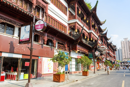 chinese garden: Shanghai, China - on July 31, 2015:Yu yuan garden of traditional Characteristic commercial street, Yu yuan garden is a famous commercial street in Shanghai