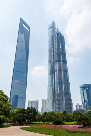 jin mao tower: Shanghai, China - July 28, 2015: skyscrapers beautiful scenery, World Financial Center and Jin Mao Tower,in Shanghai, These are the tallest buildings in Shanghai. Editorial
