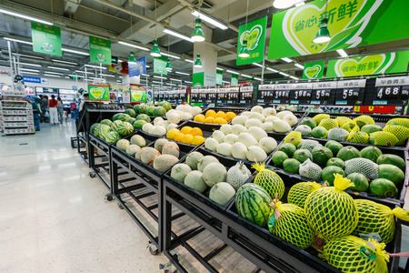 Hangzhou, China - on September 8, 2015: Wal-Mart supermarket interior view,wal-mart is an American worldwide chain enterprises, wal-mart is mainly involved in retail.