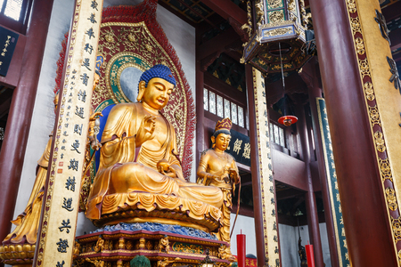 buddhist temple: Hangzhou, China - on August 26, 2015: Hangzhou Lingyin Temple Buddha in the interior, lingyin temple is a famous Chinese buddhist temple, lingyin Temple is one of the famous scenic spots in Hangzhou . Editorial