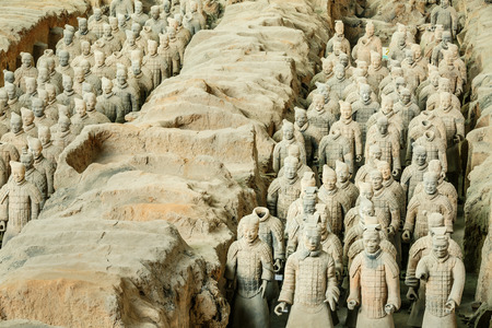 qin: Xi an, China - on September 26, 2015: famous qin shihuang terracotta warriors, it is the eighth wonder of the world, qin shihuang terracotta army is one of the world cultural heritage.
