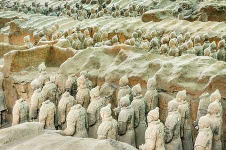 world cultural heritage: Xi an, China - on September 26, 2015: famous qin shihuang terracotta warriors, it is the eighth wonder of the world, qin shihuang terracotta army is one of the world cultural heritage.