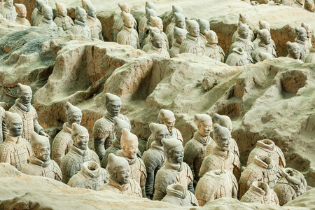 terra cotta: Xi an, China - on September 26, 2015: famous qin shihuang terracotta warriors, it is the eighth wonder of the world, qin shihuang terracotta army is one of the world cultural heritage.