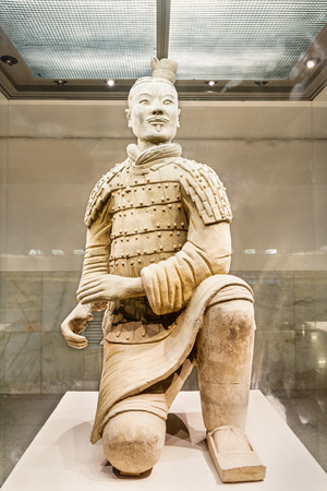 asian warrior: Xi an, China - on September 26, 2015: famous qin shihuang terracotta warriors, it is the eighth wonder of the world, qin shihuang terracotta army is one of the world cultural heritage.