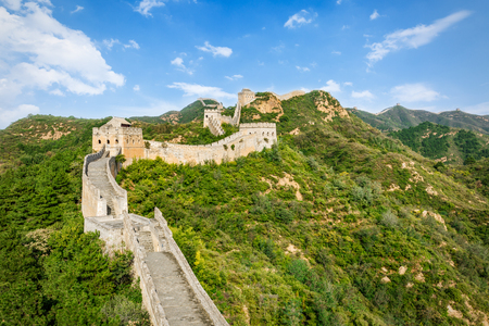 ancient brick wall: Great Wall in Beijing in China Stock Photo