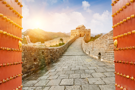 ancient brick wall: The Great Wall in the sunset,in Beijing, China Stock Photo
