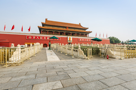 main gate: Beijing, China - on September 17, 2015:Beijings tiananmen building scenery , tiananmen is the main gate of the Forbidden City, tiananmen is the symbol of Chinas national. Editorial