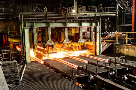 Metal smelting furnace in steel mills Stockfoto