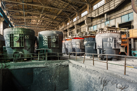 smelting plant: Metal smelting furnace in steel mills Stock Photo