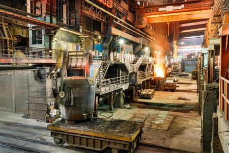 smelting plant: Metal smelting furnace in steel mills Editorial