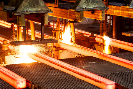 Metal smelting furnace in steel mills Archivio Fotografico