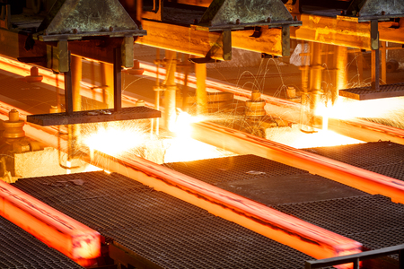 red hot iron: Metal smelting furnace in steel mills Stock Photo