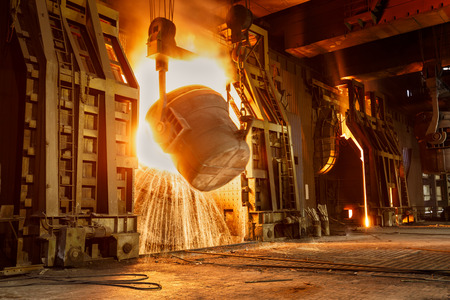 Metal smelting furnace in steel mills Banco de Imagens