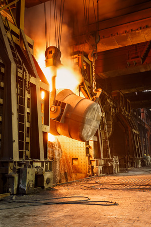 Metal smelting furnace in steel mills Reklamní fotografie